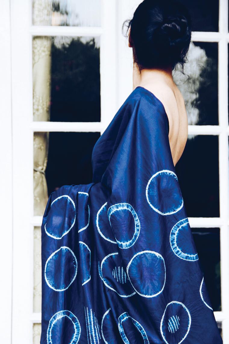 2. natural indigo dyed shibori sari