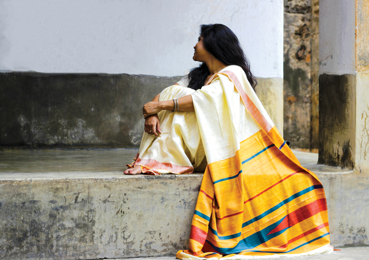 Three shuttle Tussar silk sari handwoven in Bihar