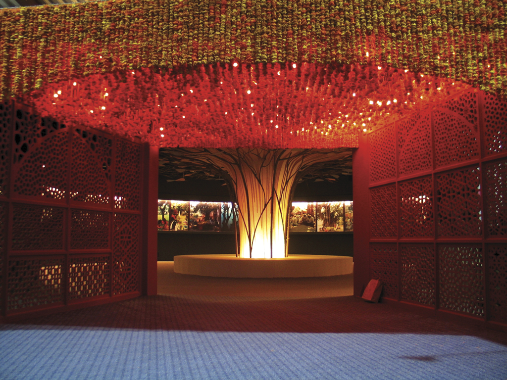 The India Pavilion at the World Exposition at Aichi, Japan 2005 Thousands of fabricated marigold strands formed the entrance gateway