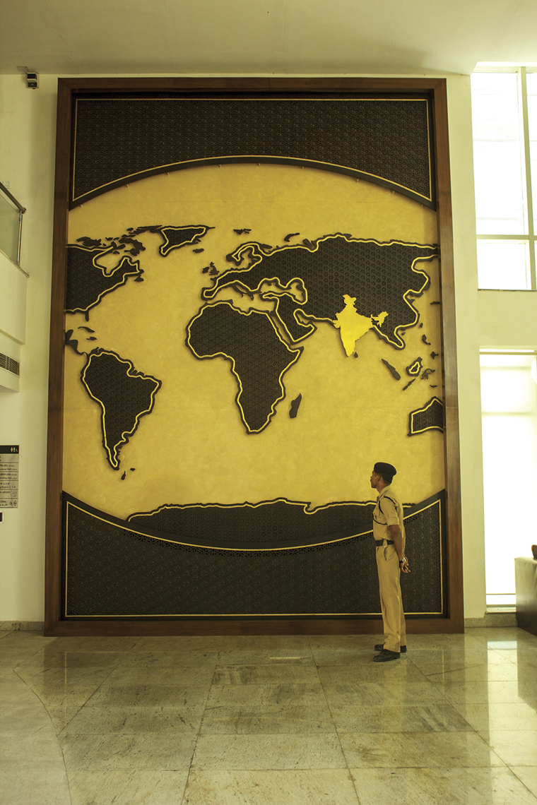 The World Map Jaali Wall