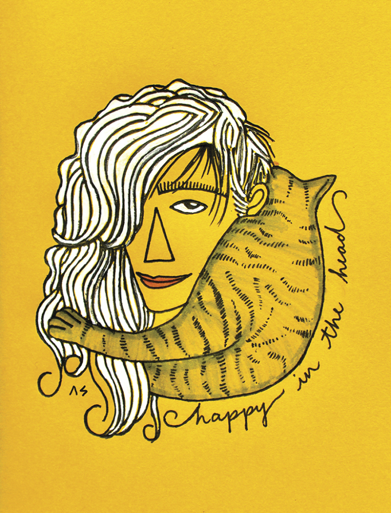 Caricature of Avni from Oolszimp, a Cat Lady and an amazing hair stylist