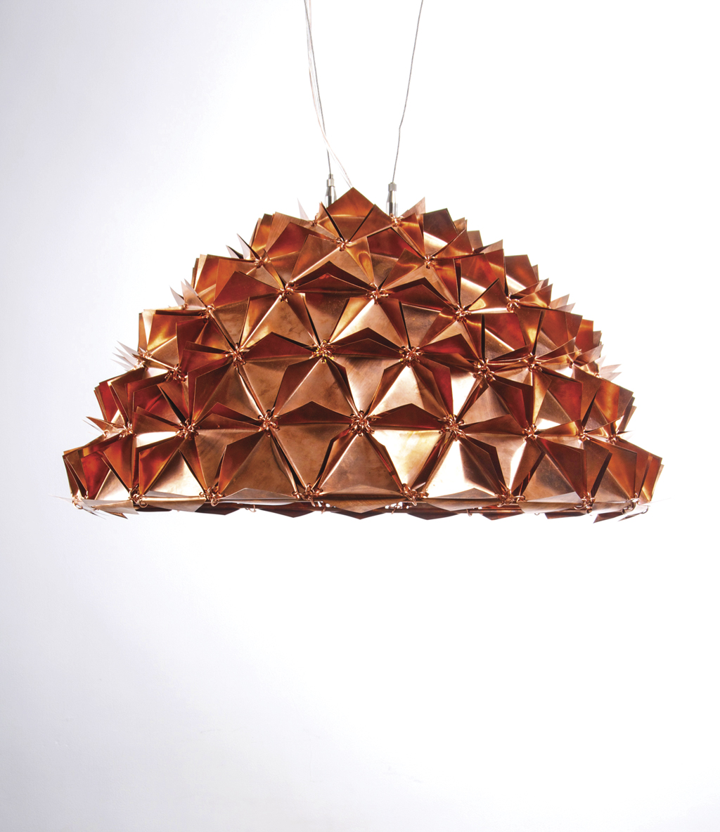 'Faceted Copper Dome' from The Faceted Tactile Light Series based on Buckminster Fuller's geodesic dome