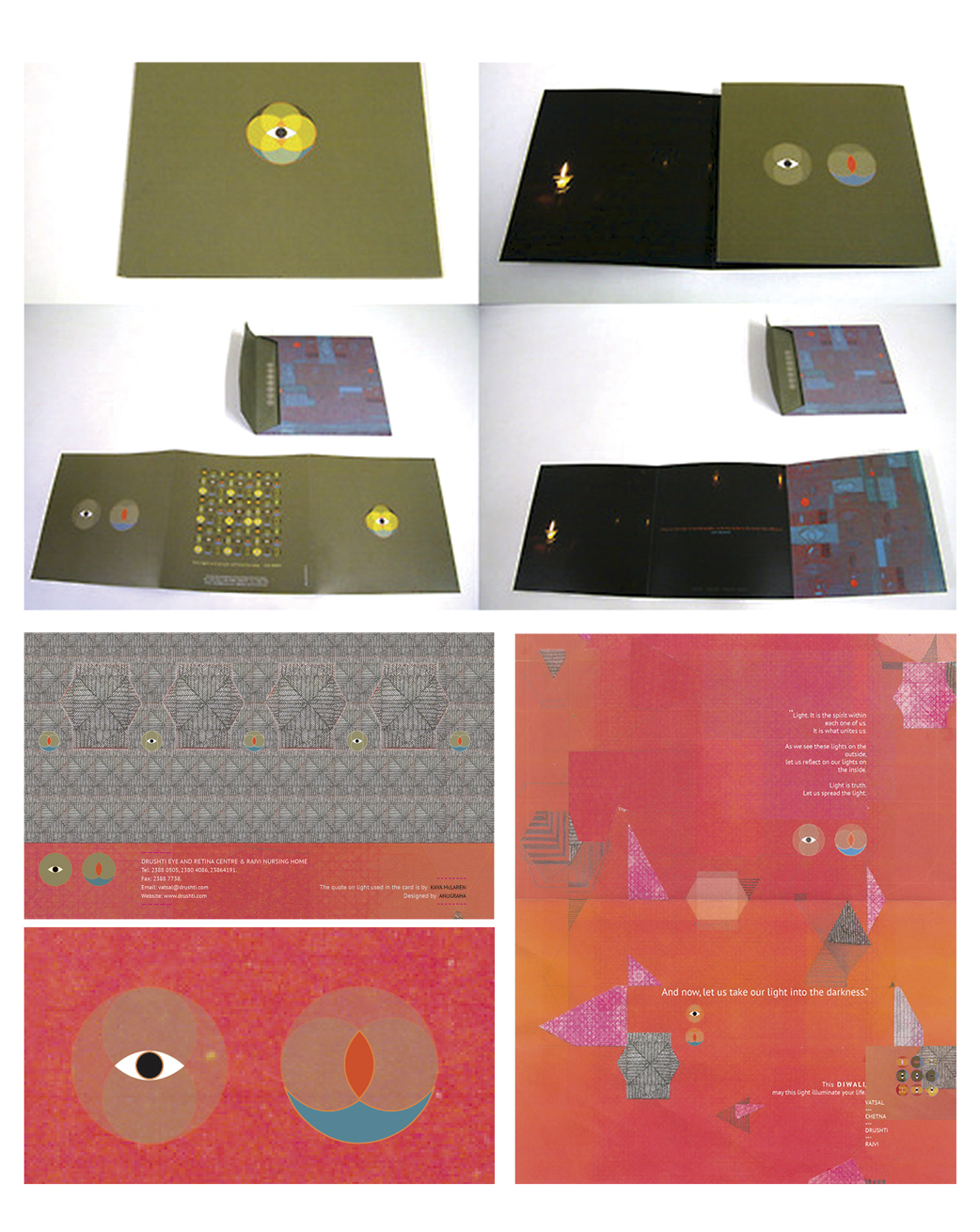 Design for Diwali cards for Drushti Eye and Retina Centre and Rajvi Nursing Home.