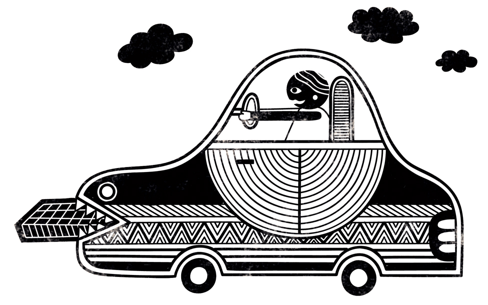 Editorial illustration for 'BRAINWAVE' - futuristic car that will run on chocolate