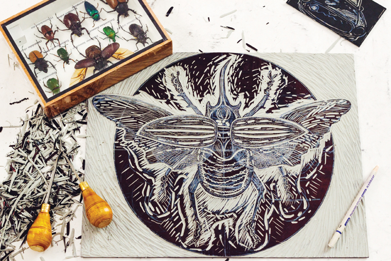 Limited Edition Prints, capturing the unique form & texture, and beauty therein, of the RHINOCEROS BEETLE