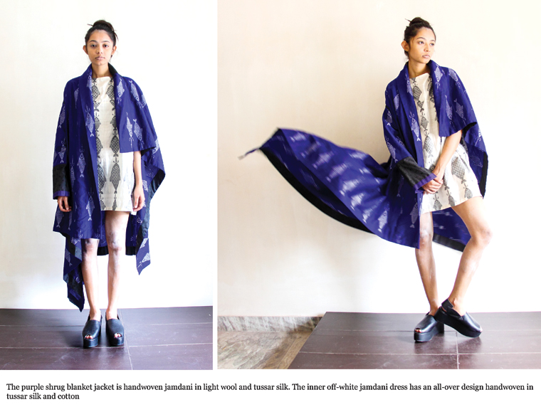 The purple shrug blanket jacket is handwoven jamdani in light wool and tussar silk.