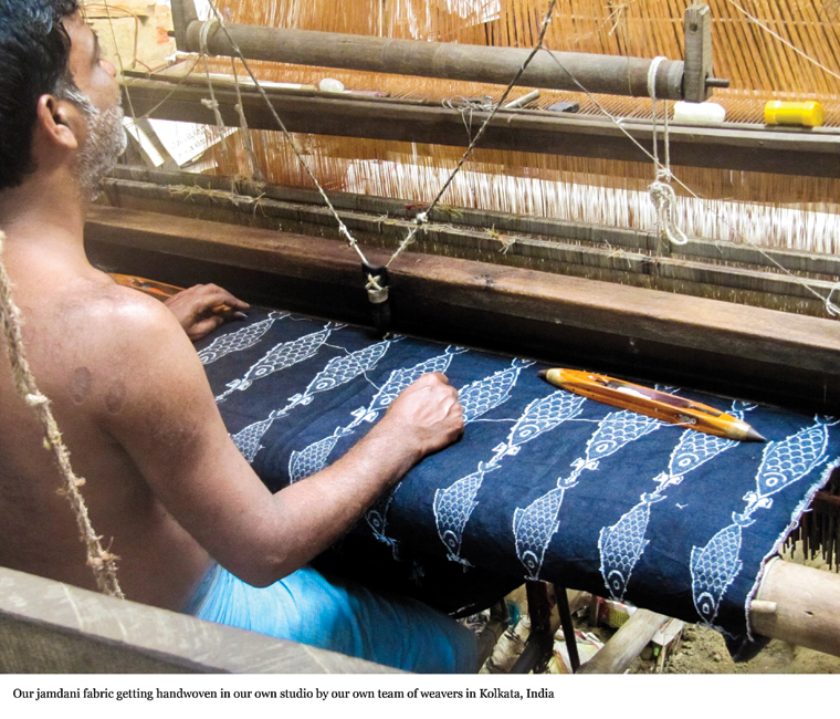 Jamdani fabric getting handwoven by a weaver from Kolkata at the studio