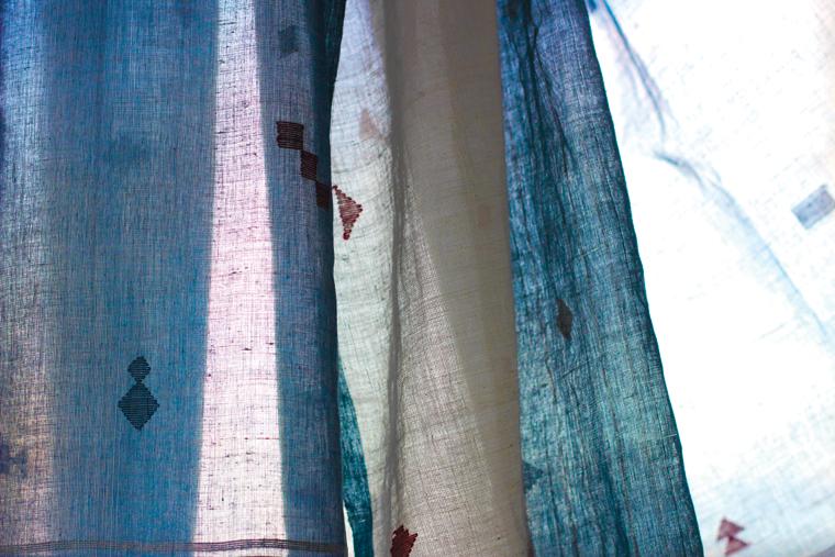 Indigo dyed Khadi stole with Jamdani motifs