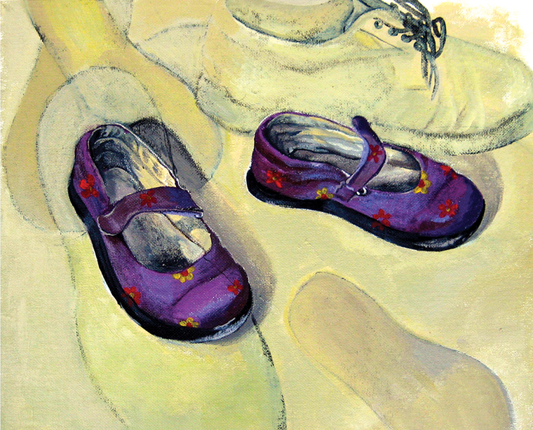 PURPLE SHOES - acrylic on board