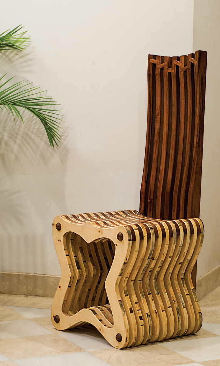 Teak and pine high back chair