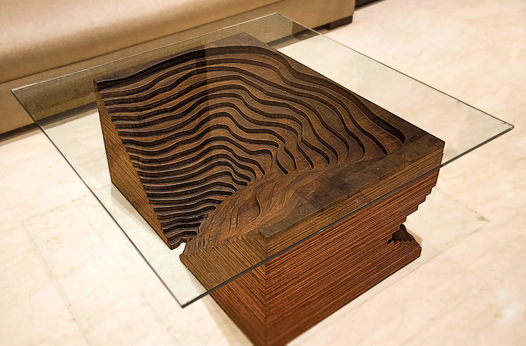 Teak and Saal topographic coffee table (zero waste design)