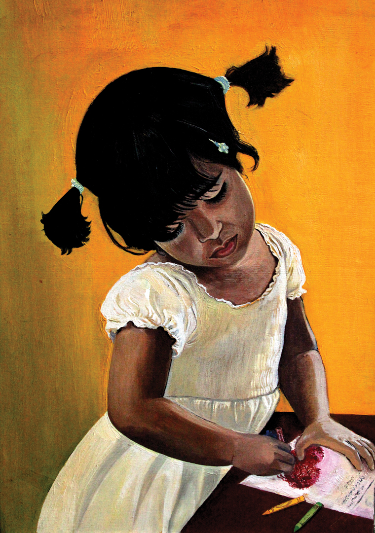 THE GIRL WITH PONY TALES - oil on canvas