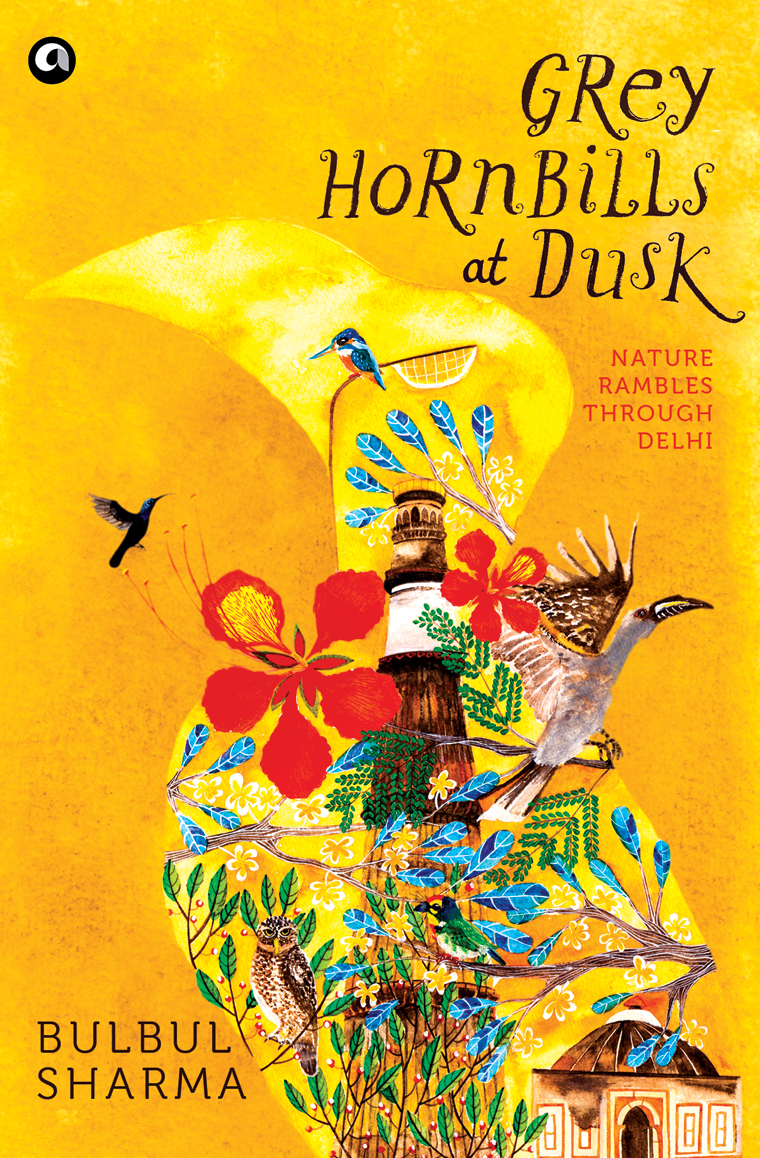 Illustration and design for Bulbul Sharma's 'Grey Hornbills at Dusk'.