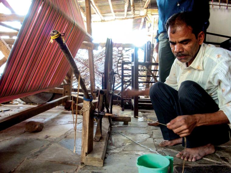 A weaver in prepares