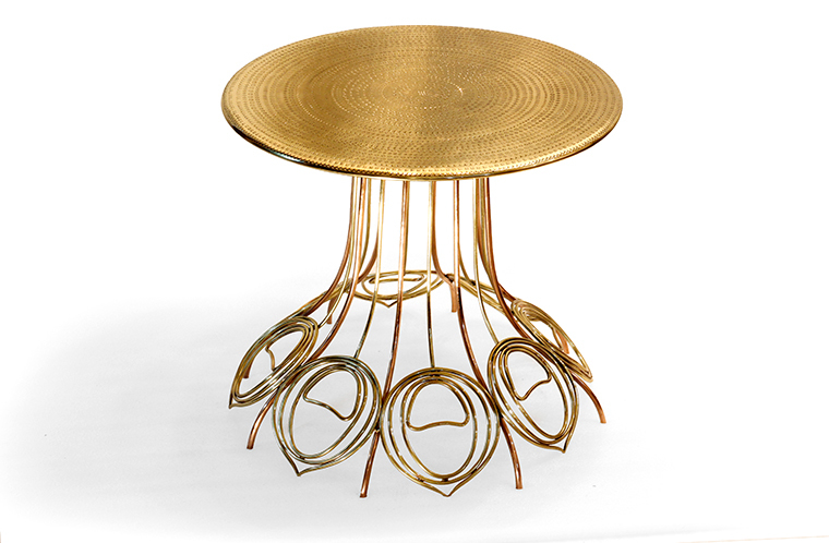 Peacock Table in Brass & Copper